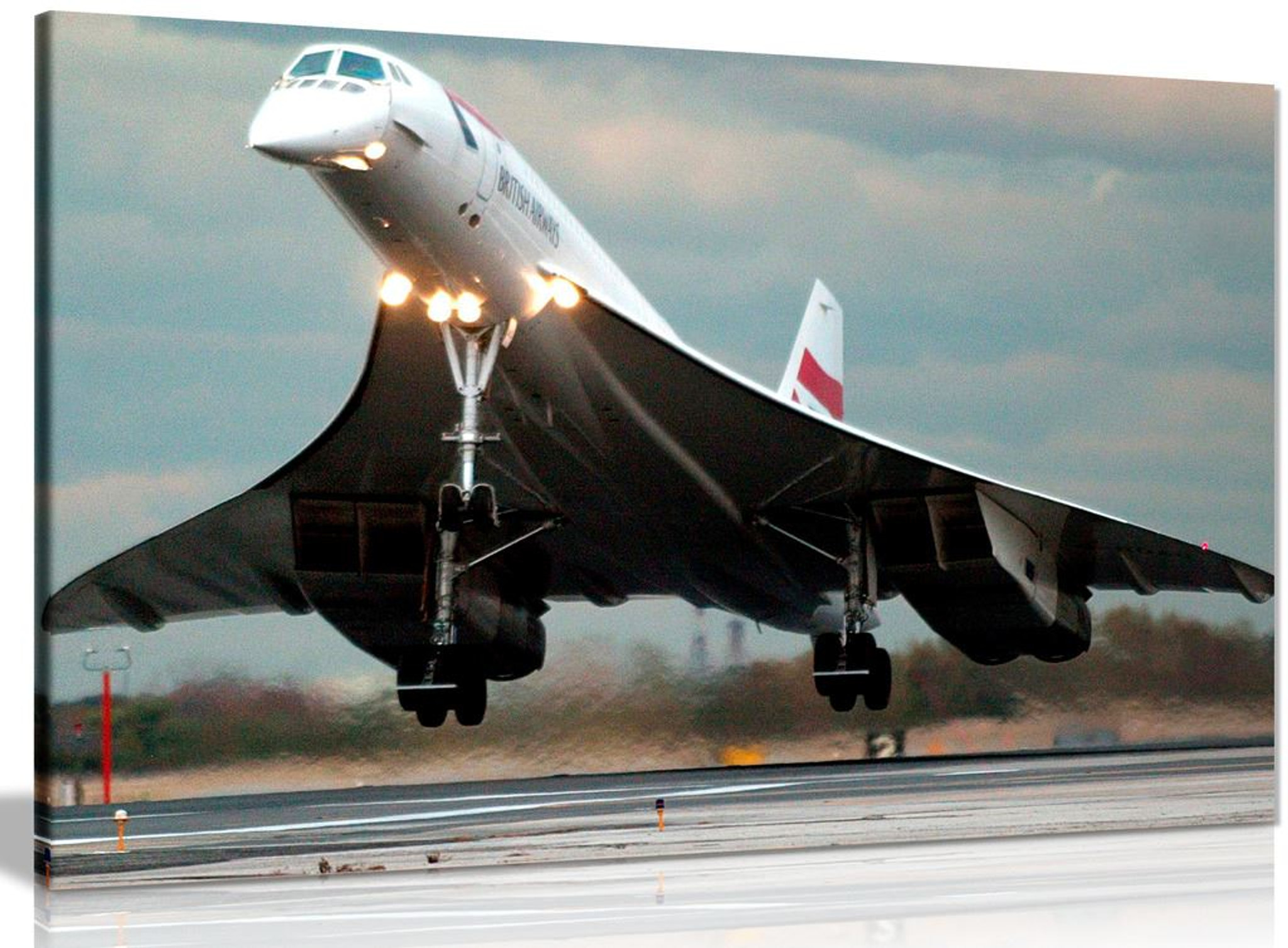 Ba Concorde Supersonic Jet Landing Canvas