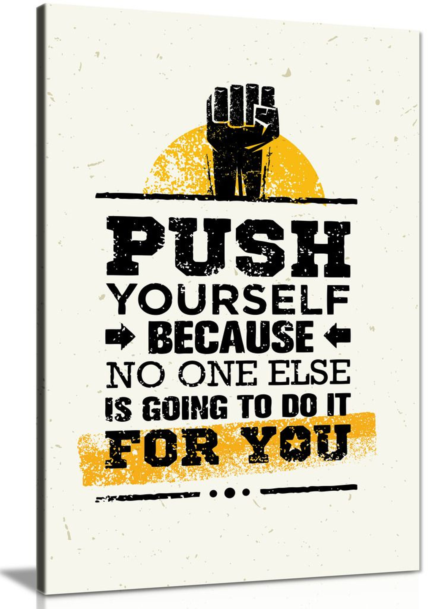 Push Yourself Grunge Inspiring Motivation Quote Canvas