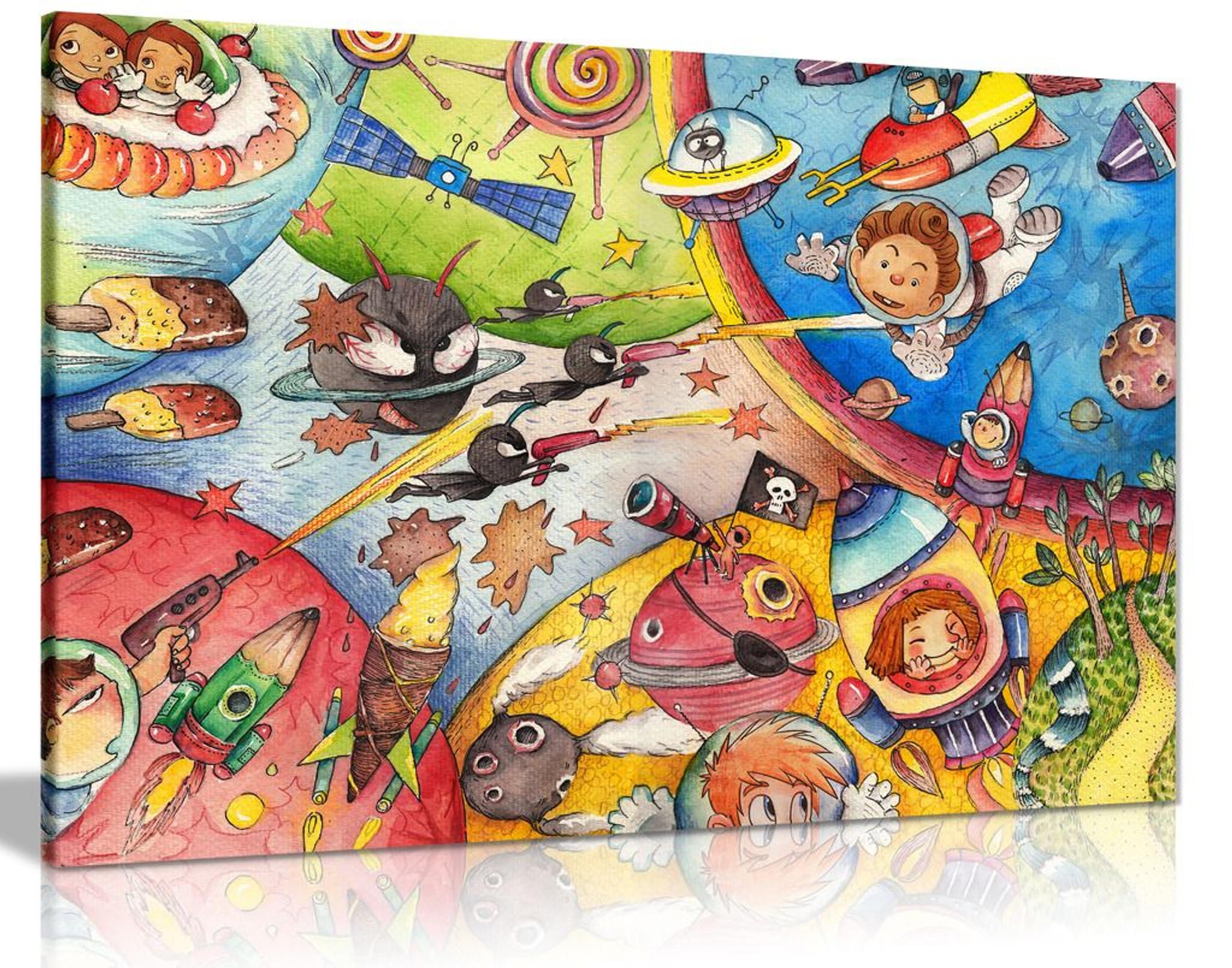 Boys Bedroom Space Cartoon Kids Nursery Canvas