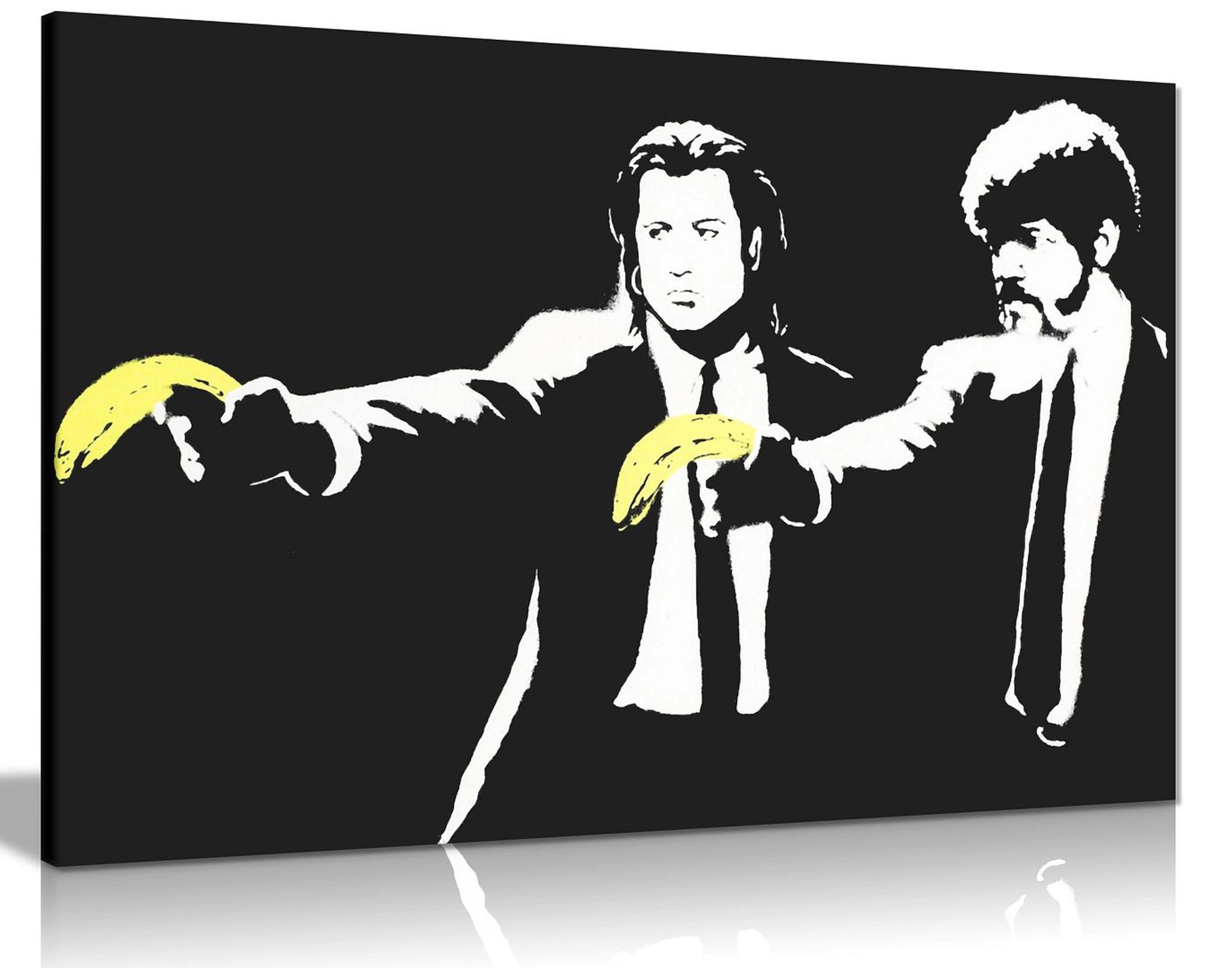 Banksy Pulp Fiction Banana Gun Graffiti Canvas