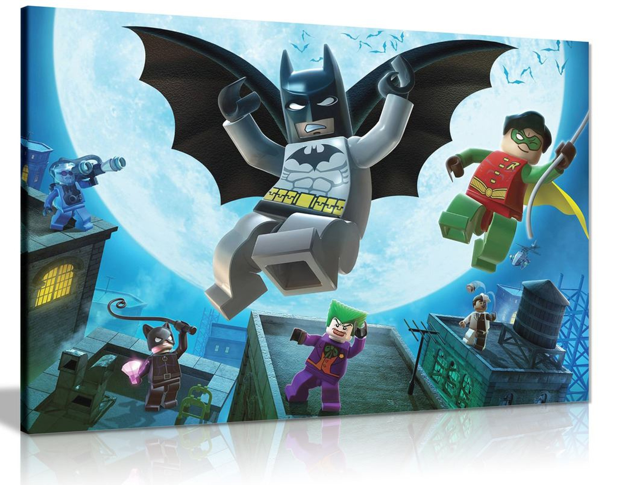 Lego Batman Robin Joker Catwoman Superhero Canvas