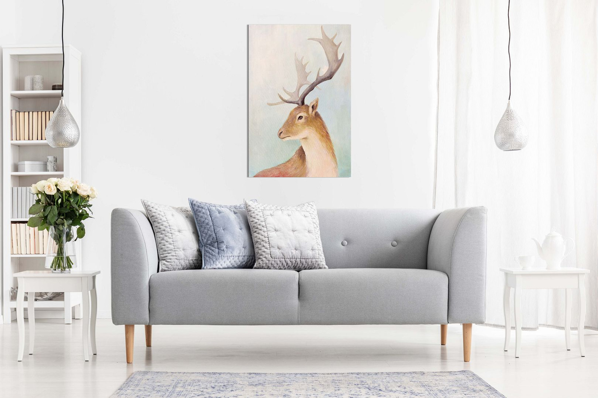 Deer Portrait Animal Wildlife Painting for Home Canvas