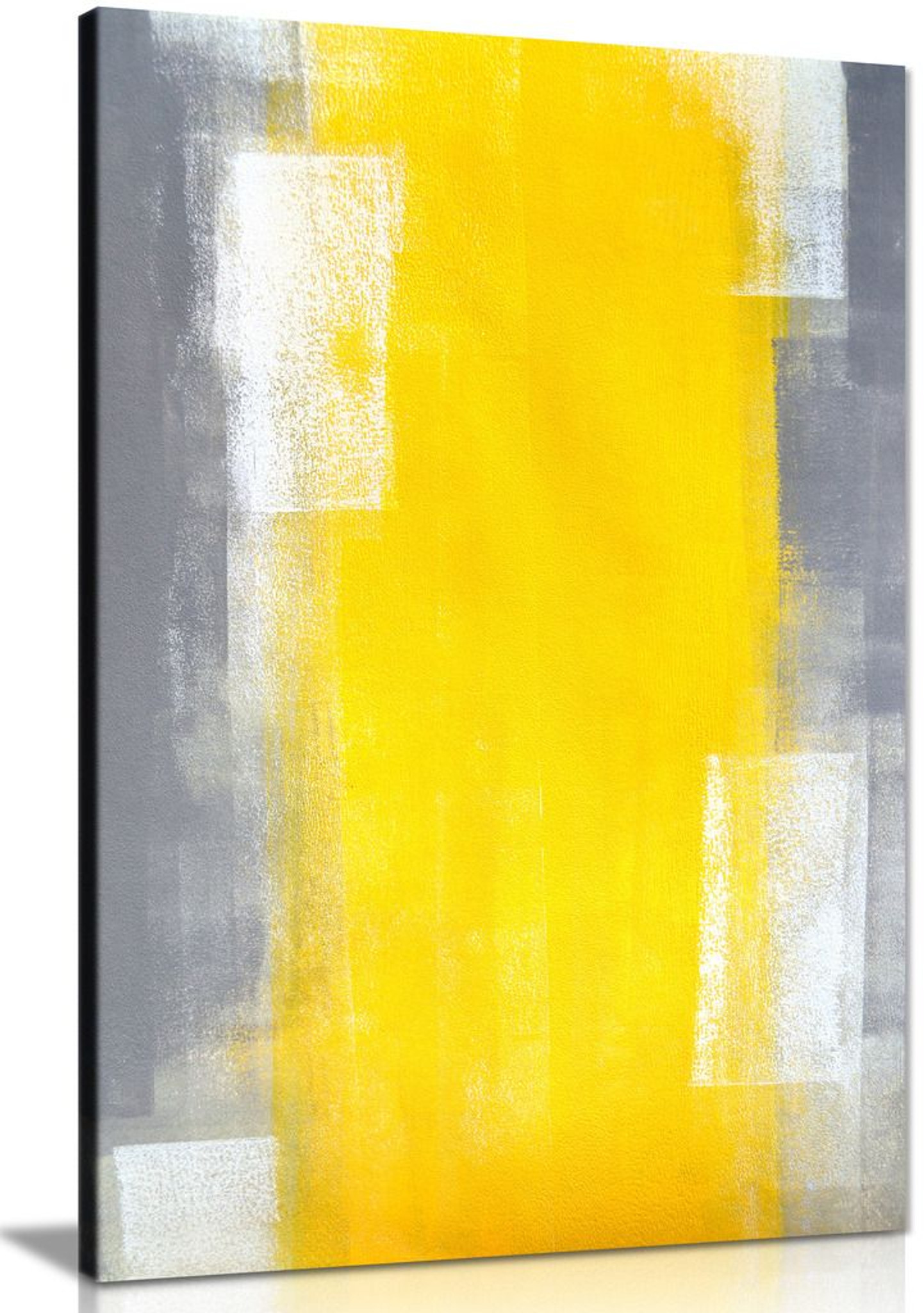 Abstract Yellow & Grey Modern Office Painting Canvas