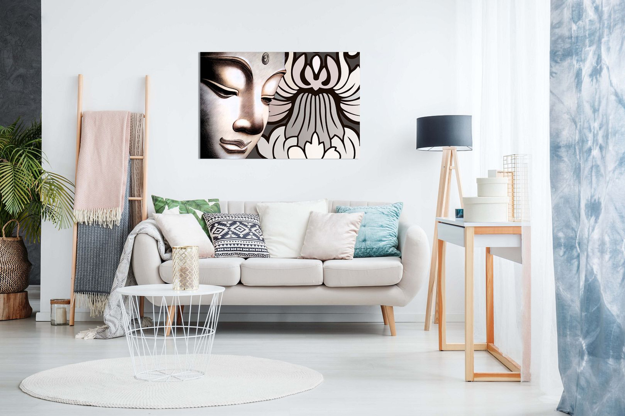 Buddha & Flowers Canvas