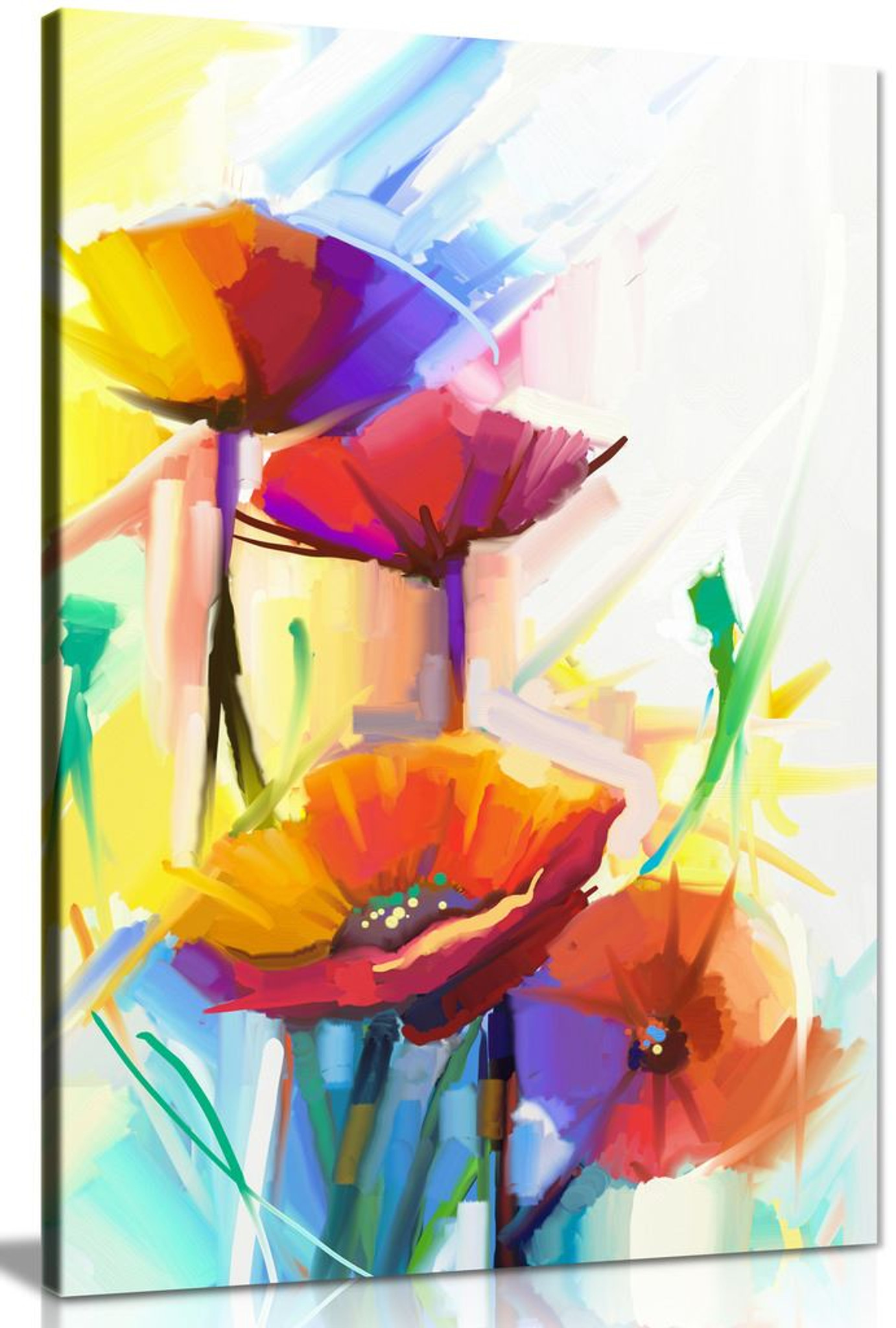 Abstract Oil Painting Of Spring Flower Canvas