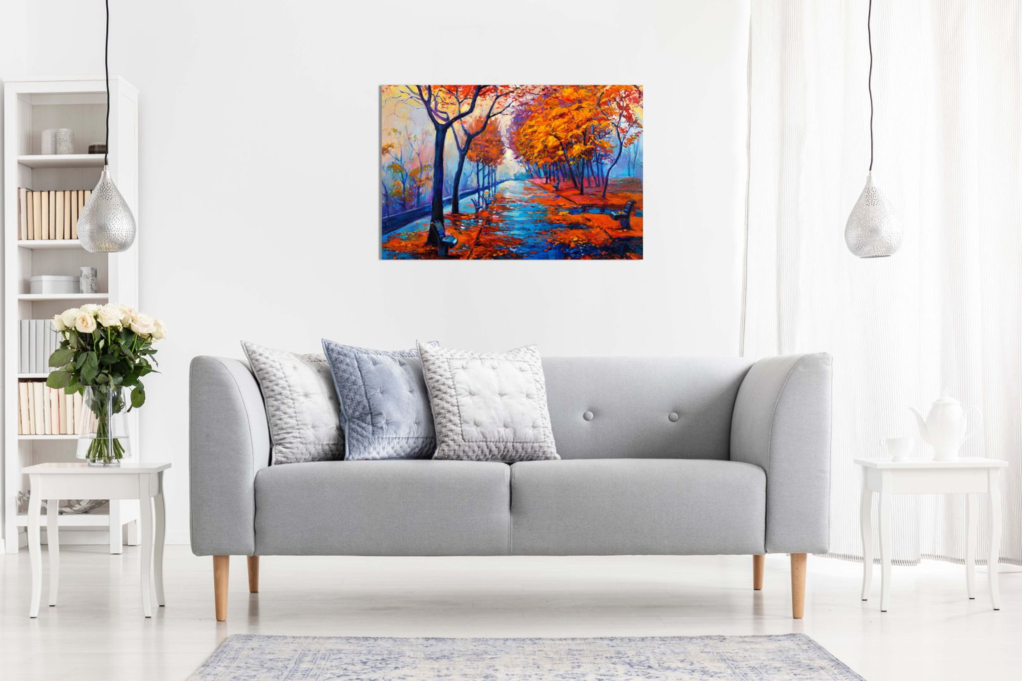 Abstract Oil Painting Autumn Park With Empty Benches Canvas