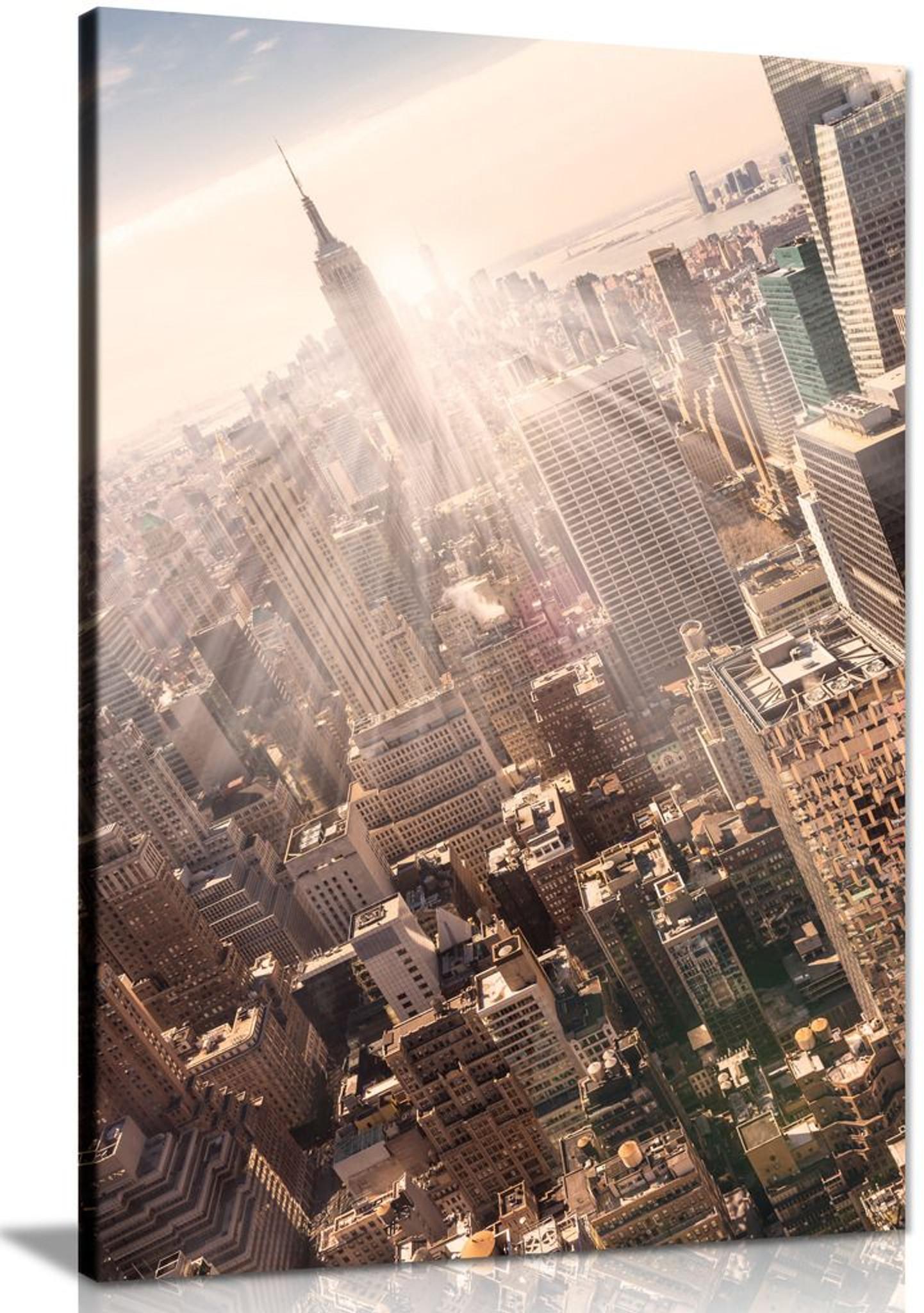 New York City Manhattan Skyline Empire State Building & Skyscrapers Office Canvas