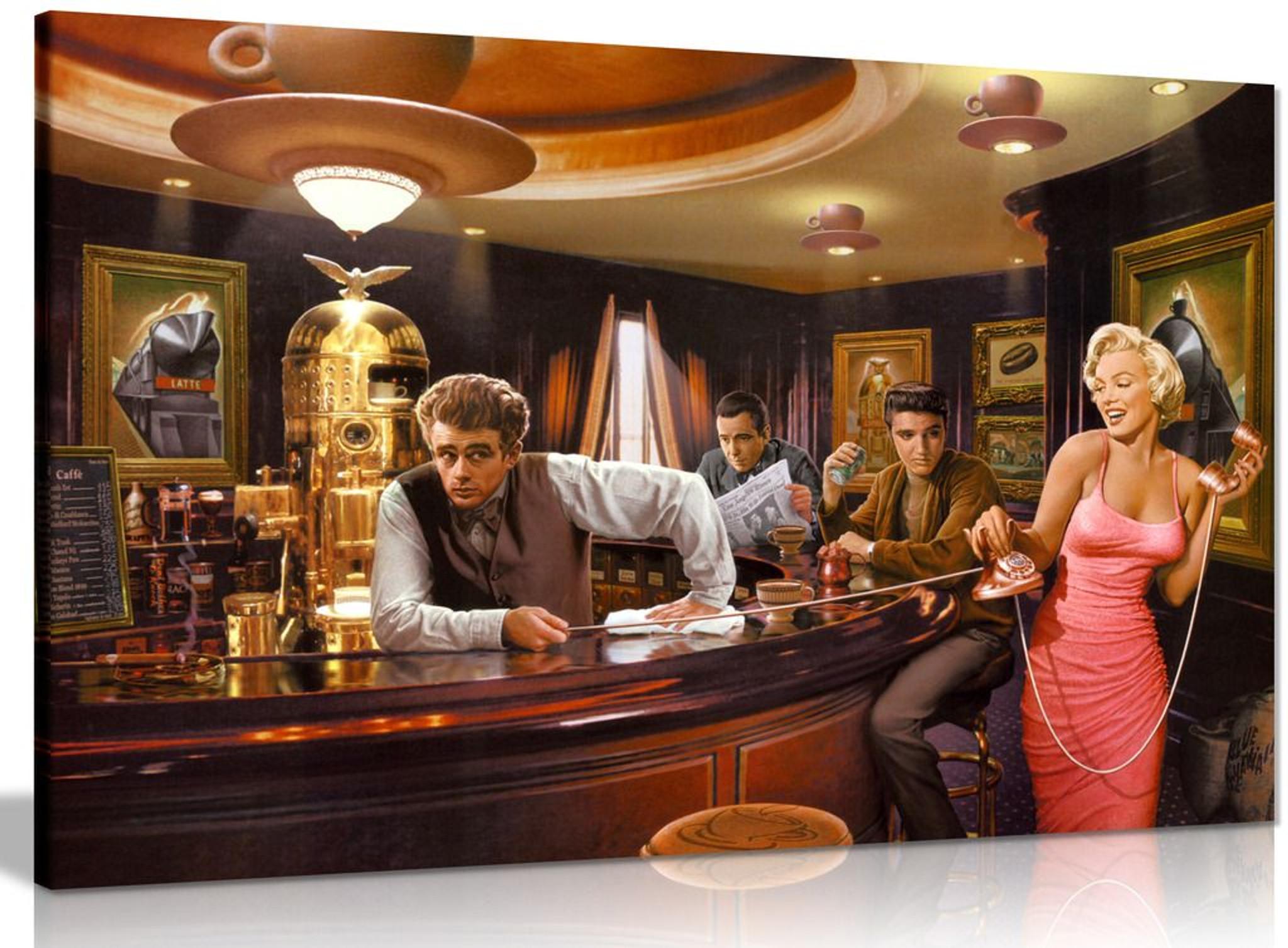 Marilyn Monroe Elvis Presley James Dean In Bar Pop Art Hollywood Canvas