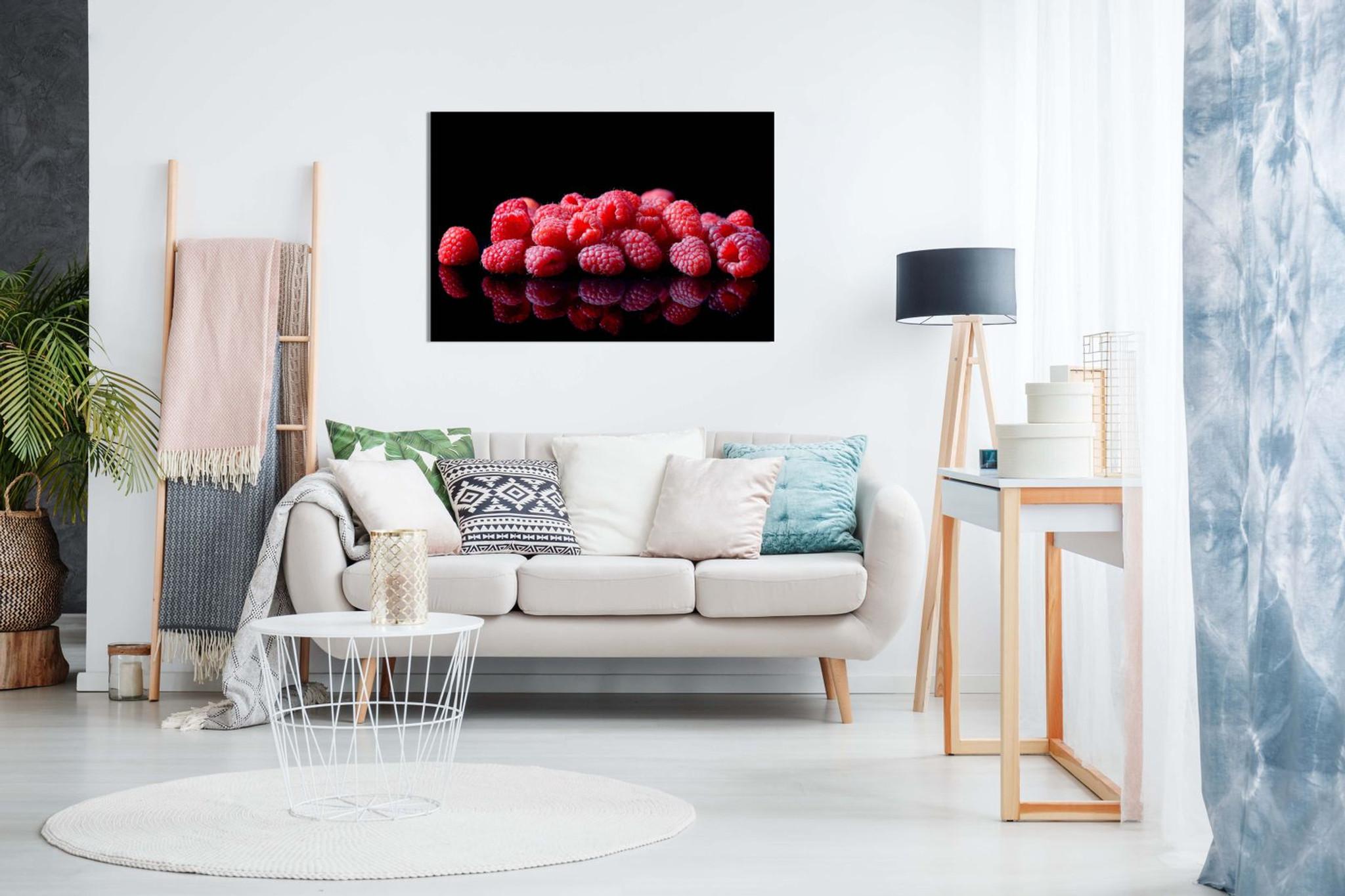 Raspberries On Black Background Kitchen Art Canvas