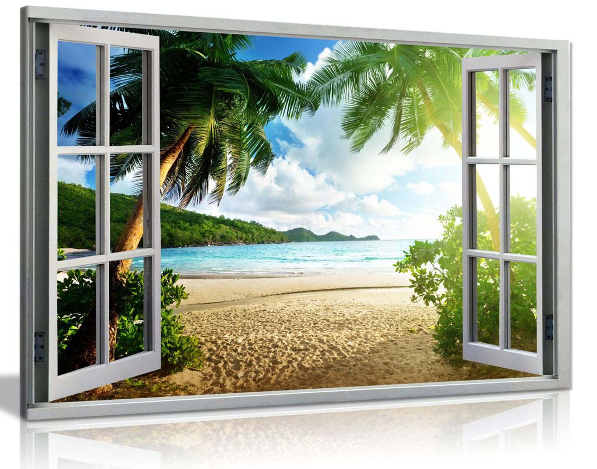 Beach Sunset View 3D Window Effect Landscape Canvas