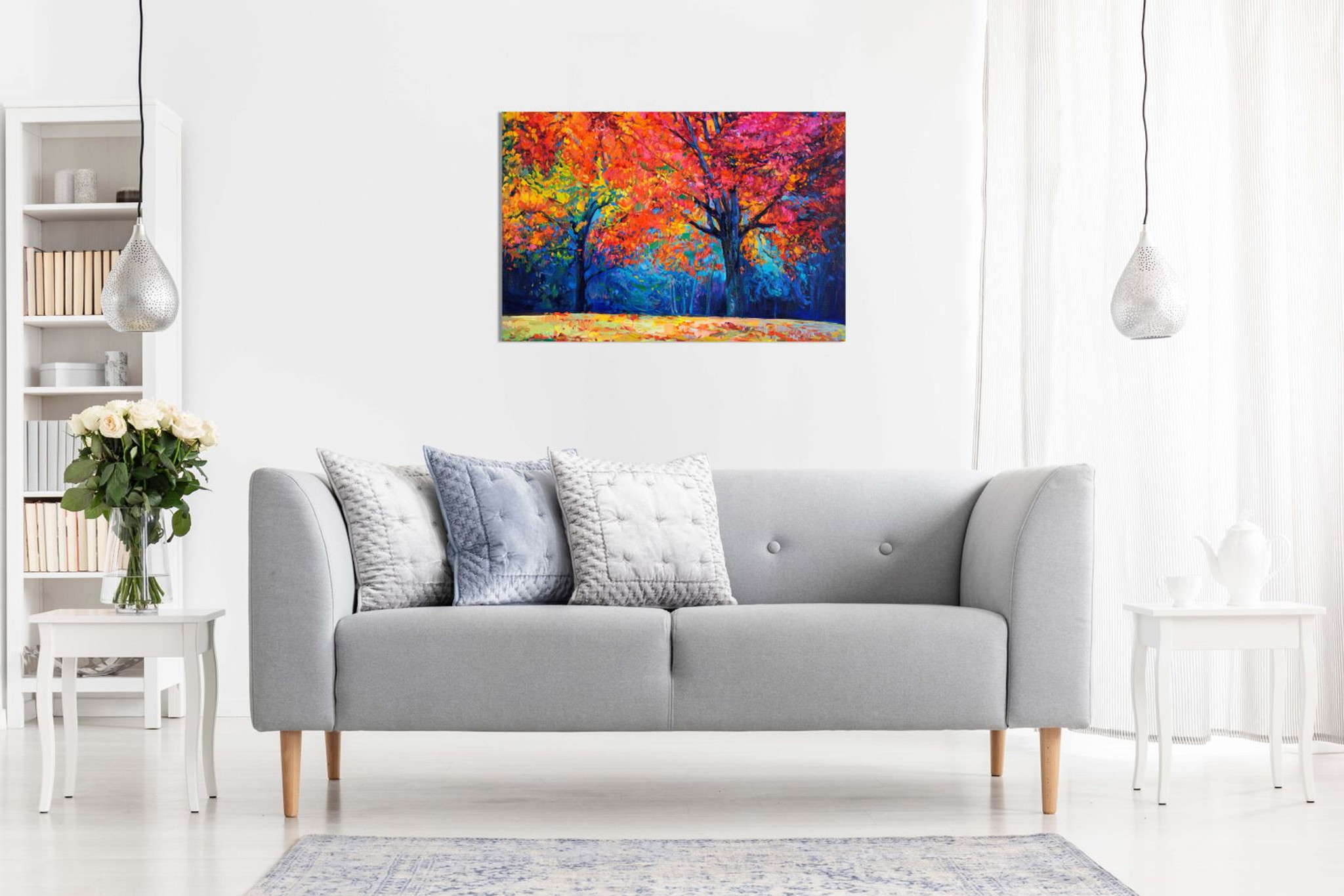 Abstract Contemporary Painting Colourful Autumn Forest Canvas