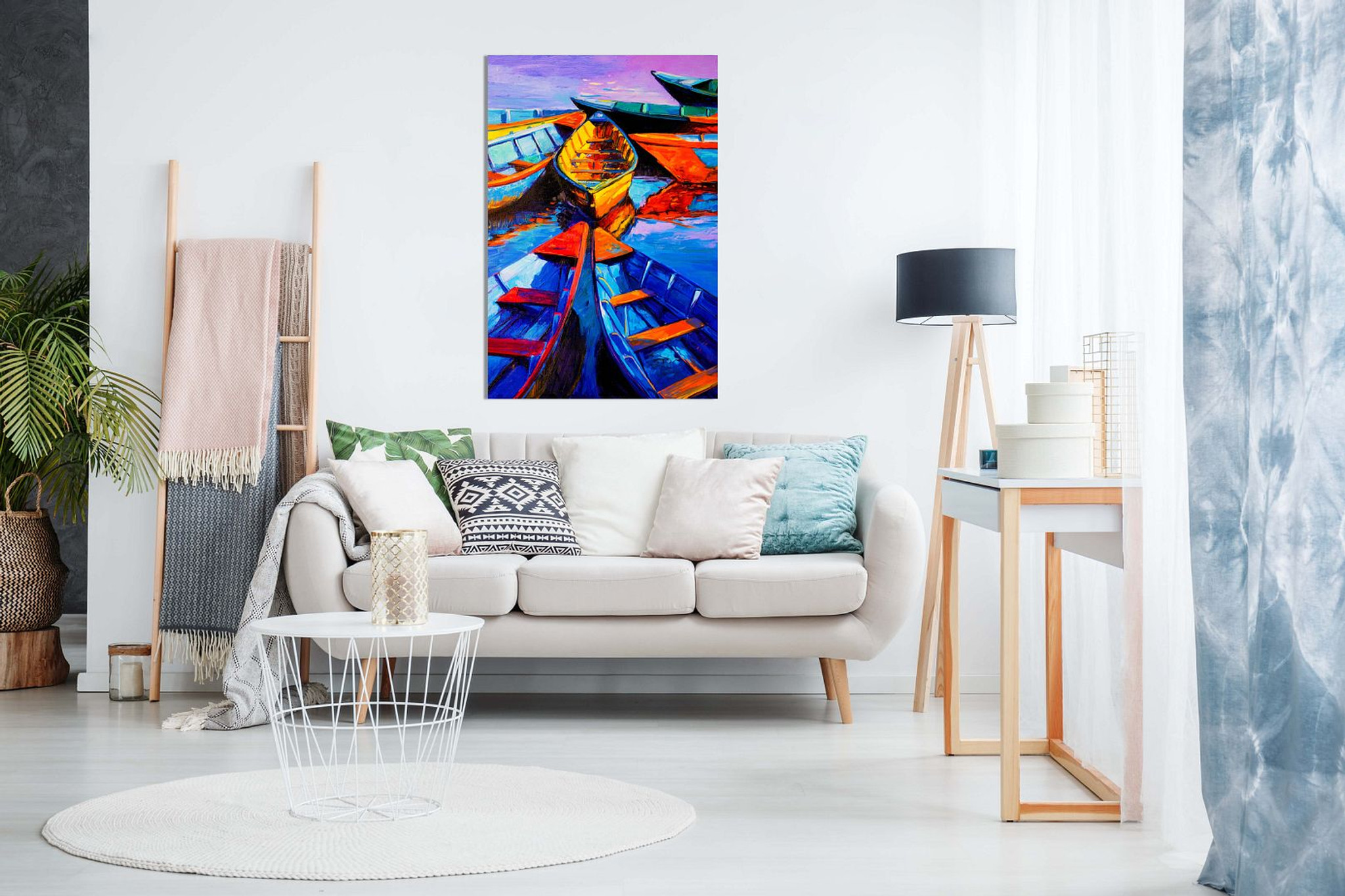 Blue Oil Painting Boats & Sea Modern Canvas