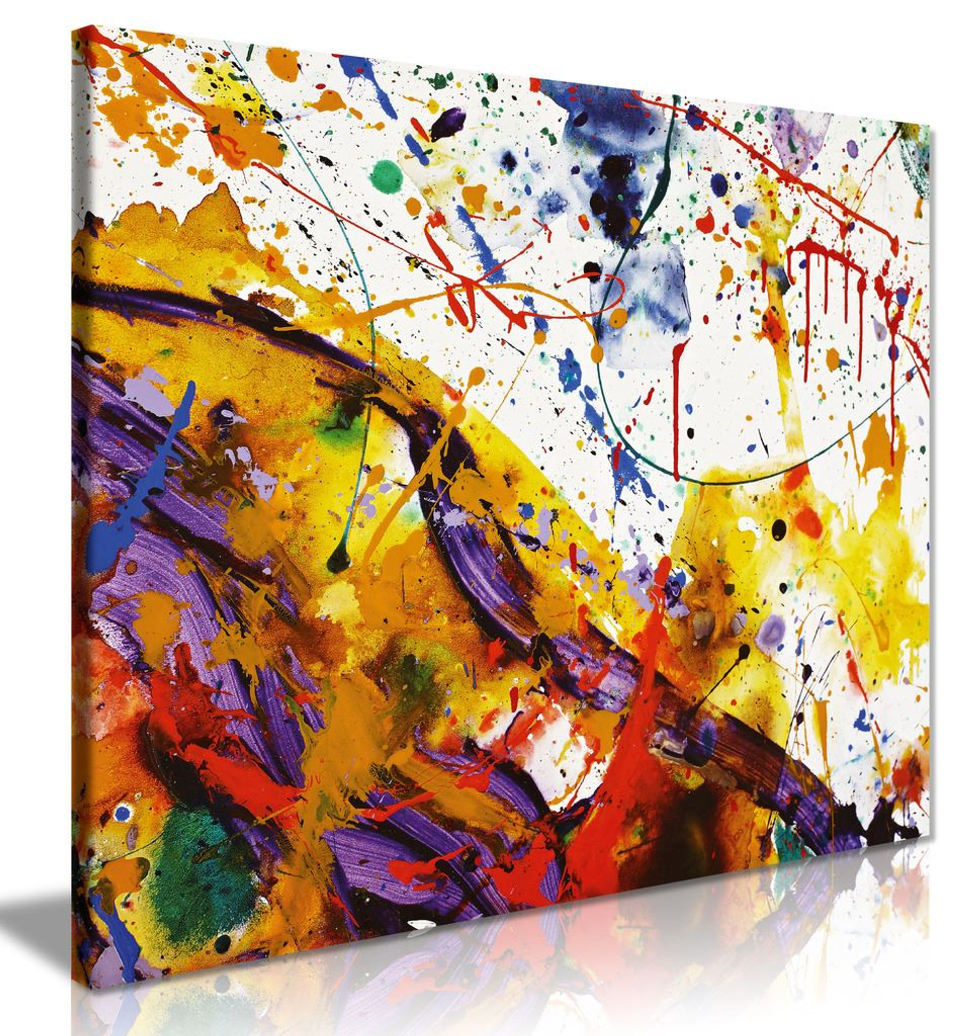 Abstract Modern Art Home Paint Splashes Canvas