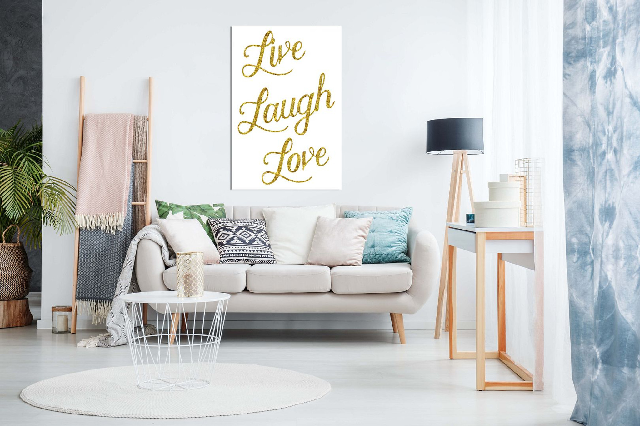 Live Laugh Love Glittery Gold Faux Canvas