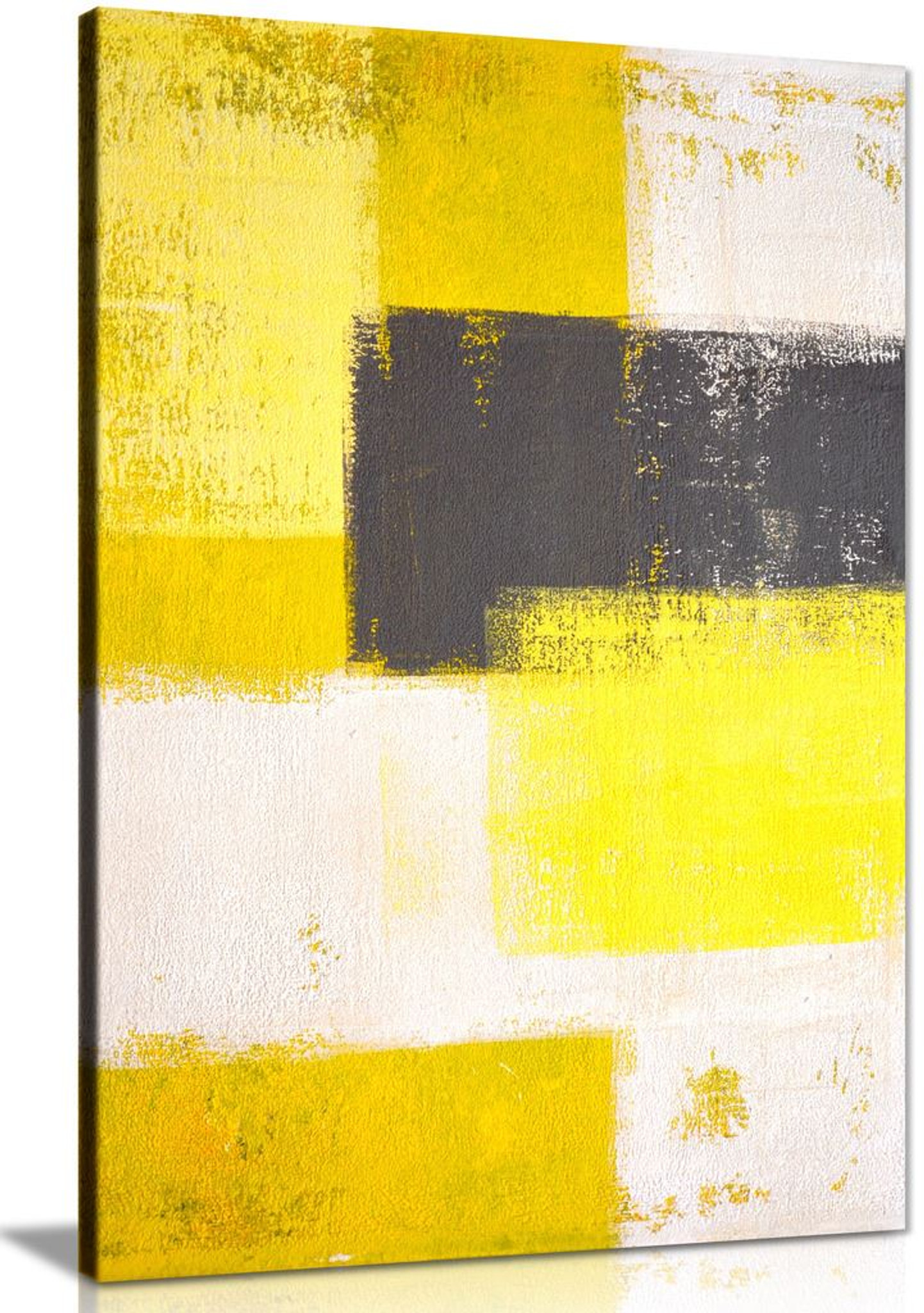 Modern Grey & Yellow Abstract Painting Canvas