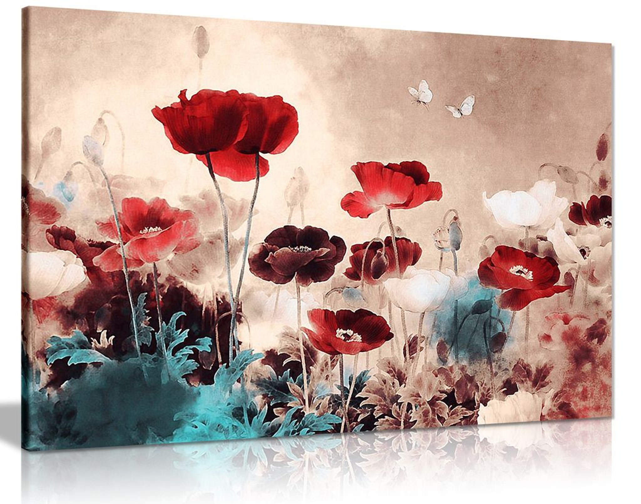 Floral Painting Grunge Style Canvas