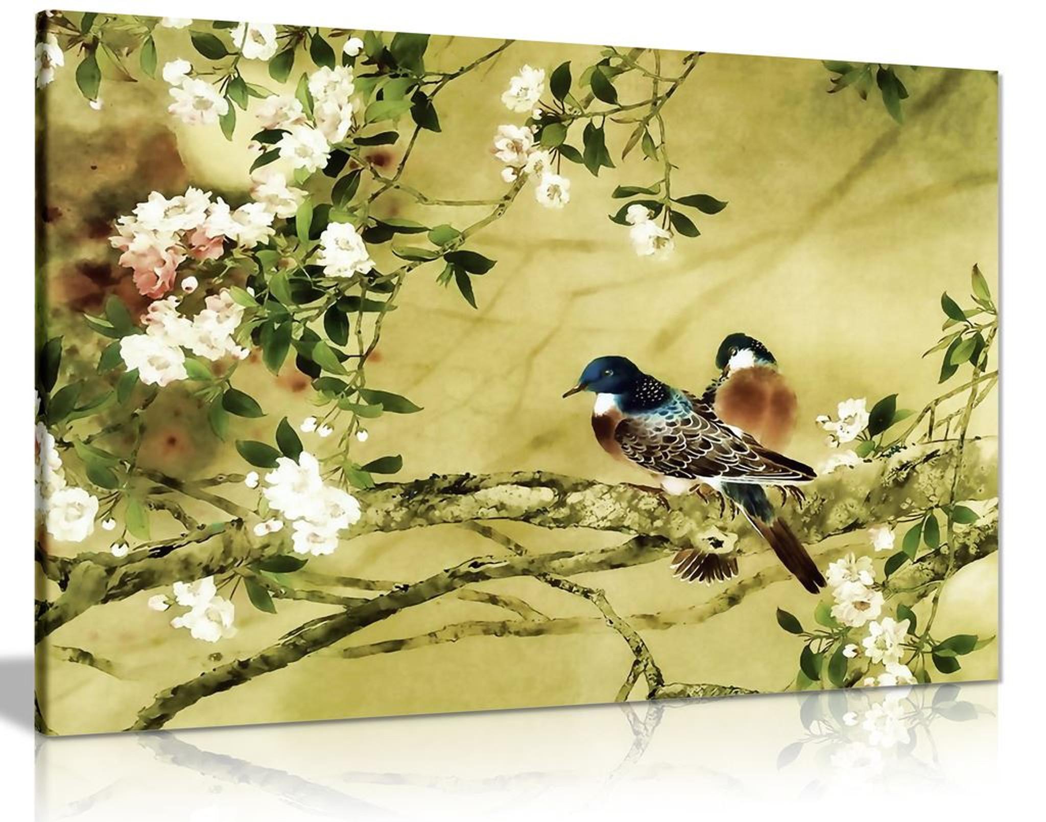 Oriental Canvas Art Birds Plum Blossom Canvas