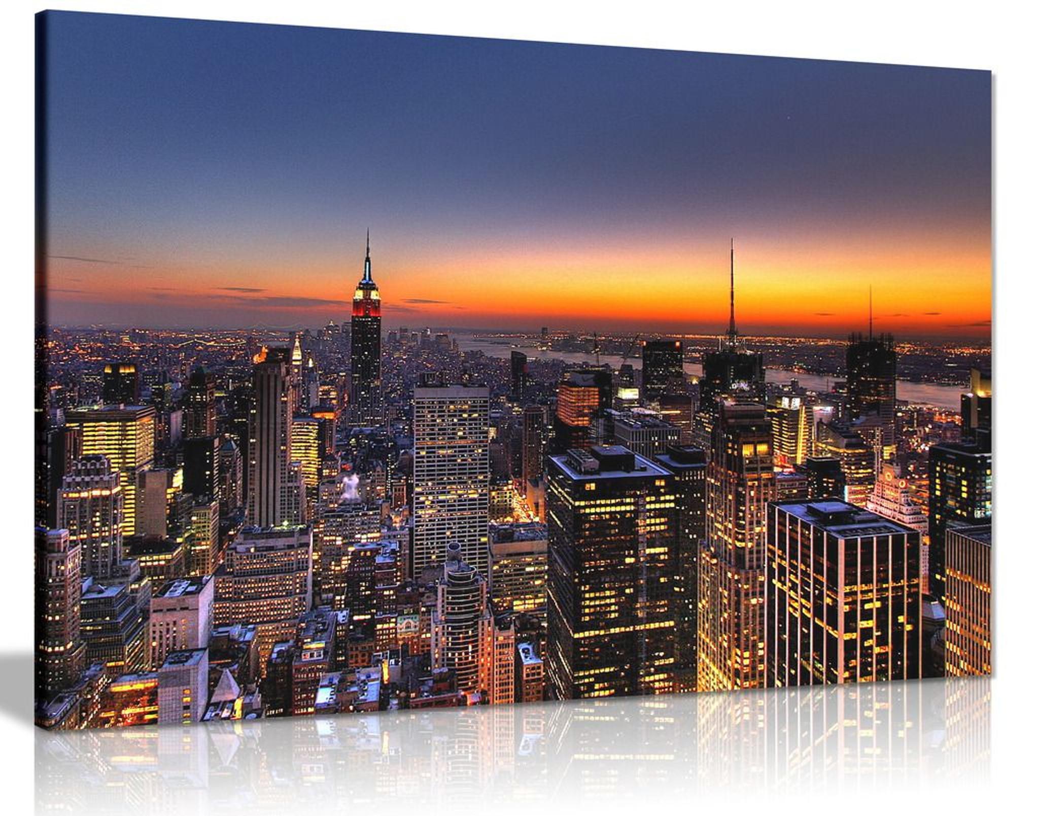New York At Dusk Canvas