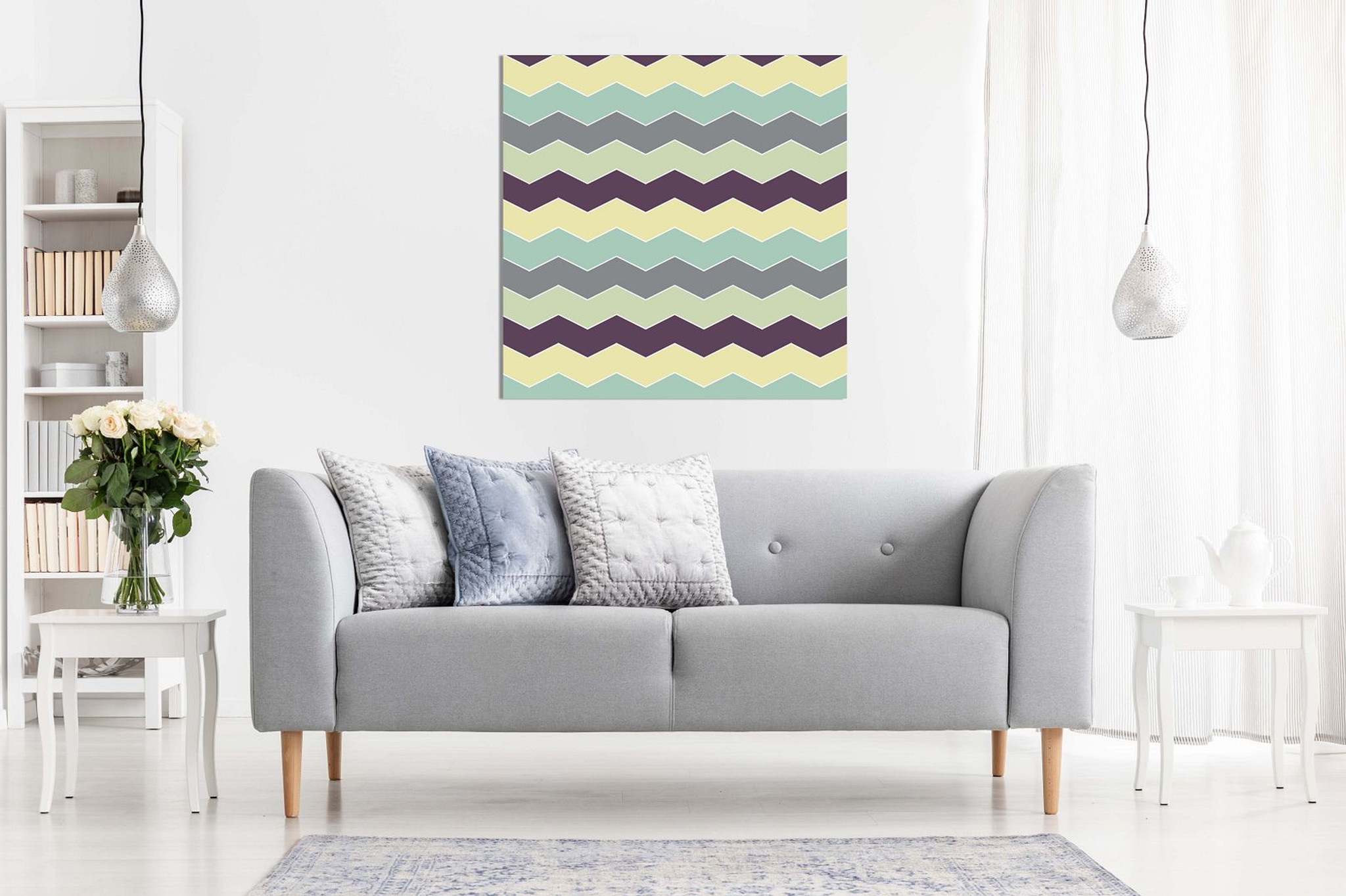 Abstract Retro Geometric Zigzags Canvas For Sale