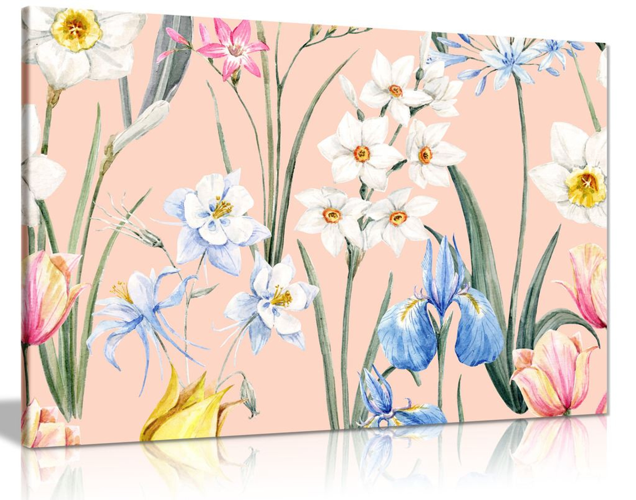 Watercolour Botanical Flowers Canvas Wall Art Picture Print