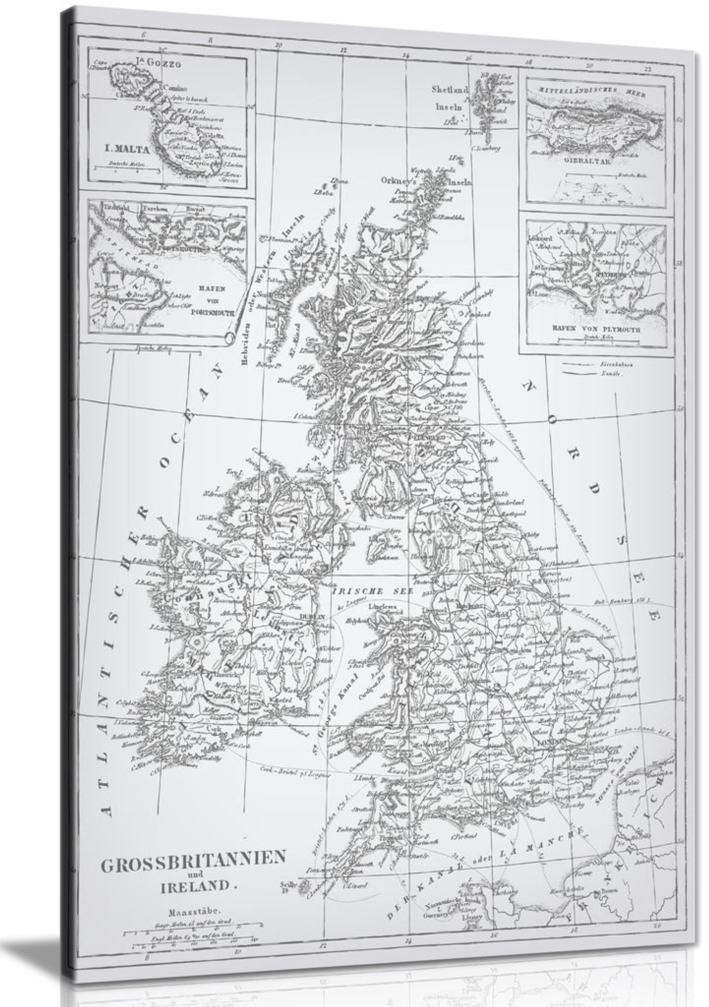 Vintage Map Of United Kingdom Canvas Wall Art Picture Print