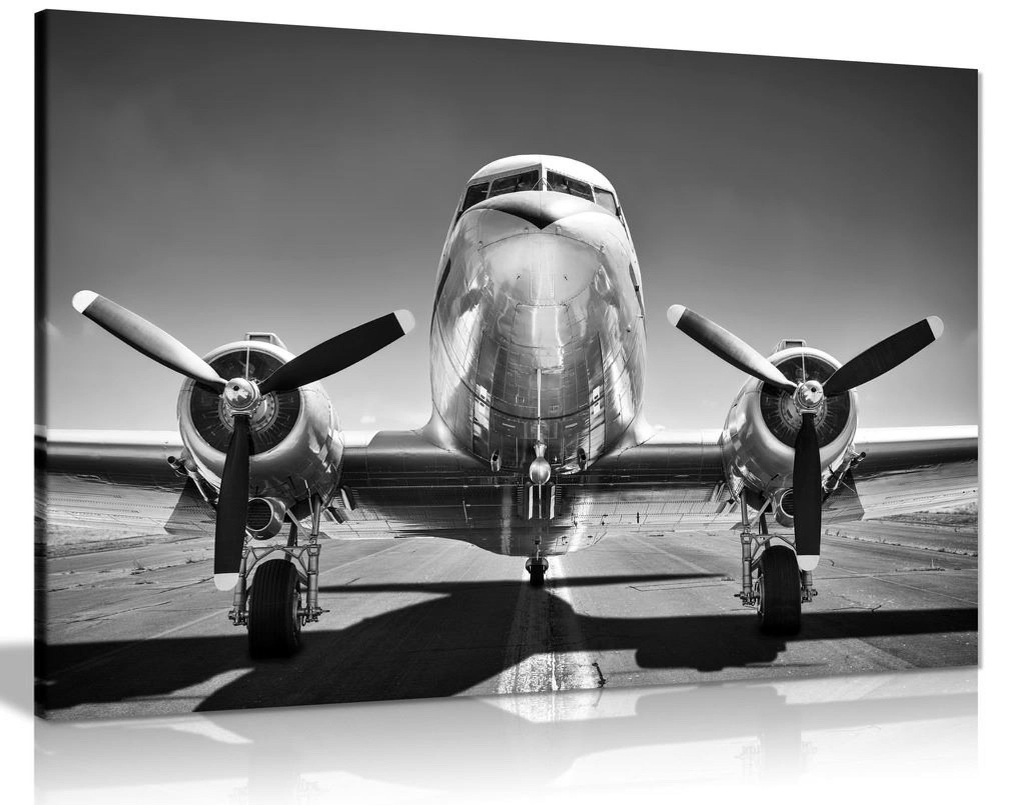 Vintage Black & White Shiny Airplane Canvas Wall Art Picture Print