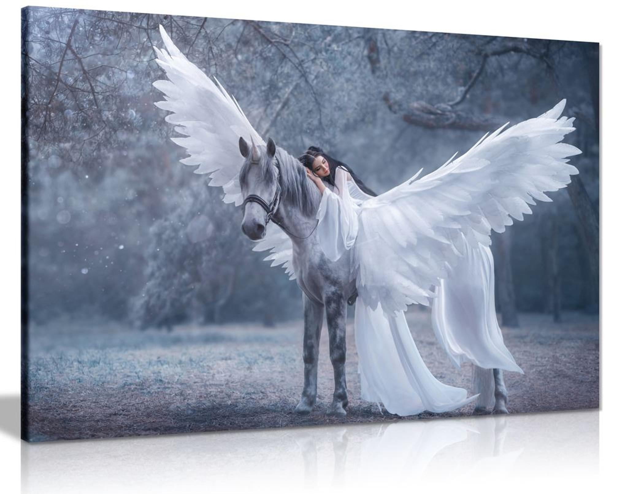 Unicorn & Princess Canvas Wall Art Picture Print