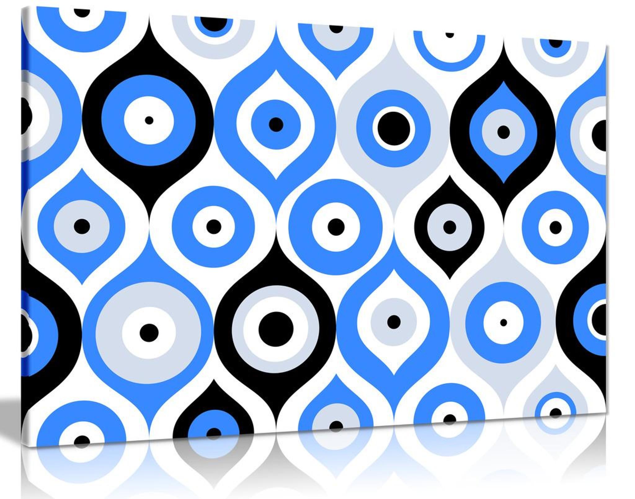 Turkish Evil Eye Pattern Canvas Wall Art Picture Print