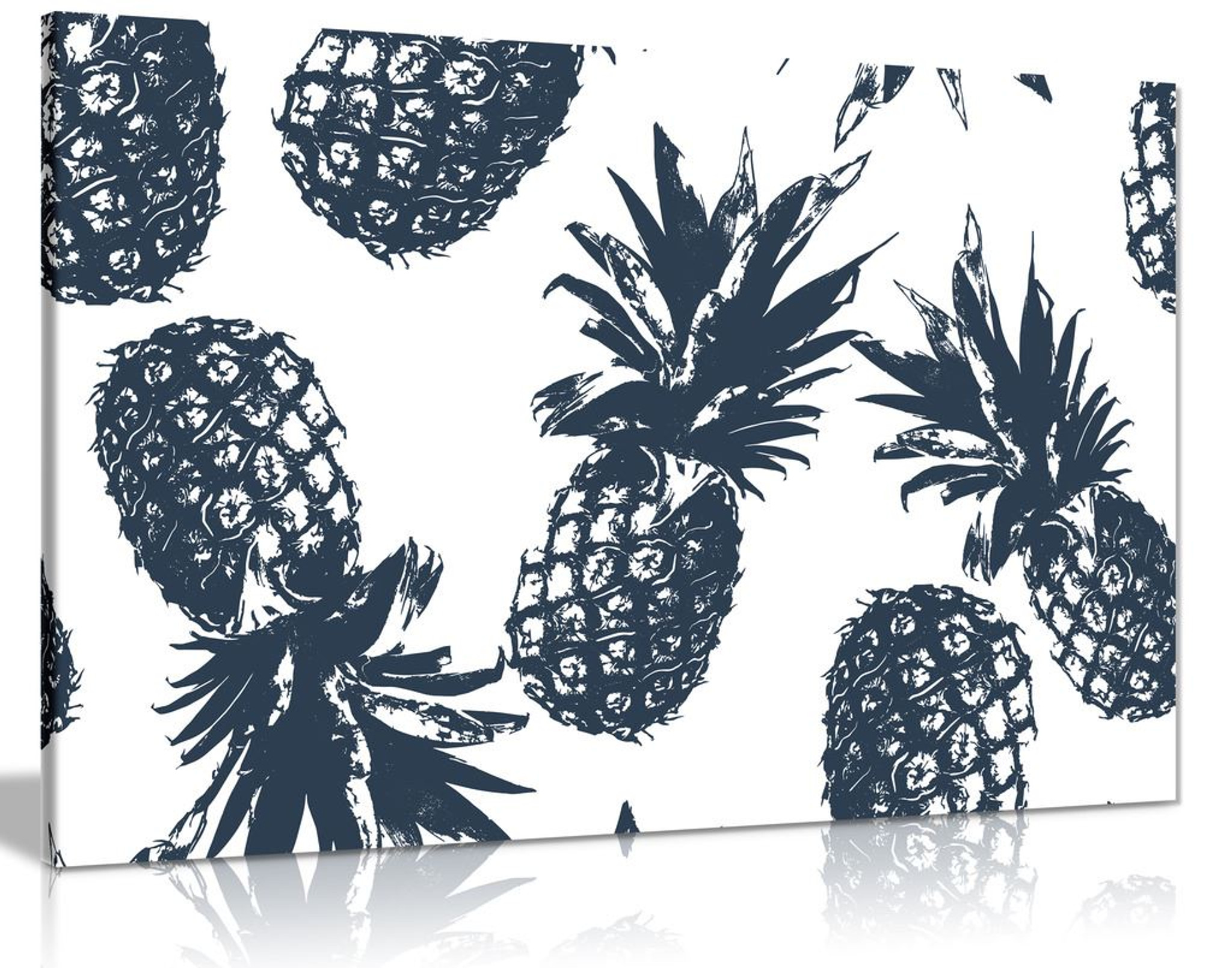 Tropical Pineapples Pattern Black White Canvas Wall Art Picture Print