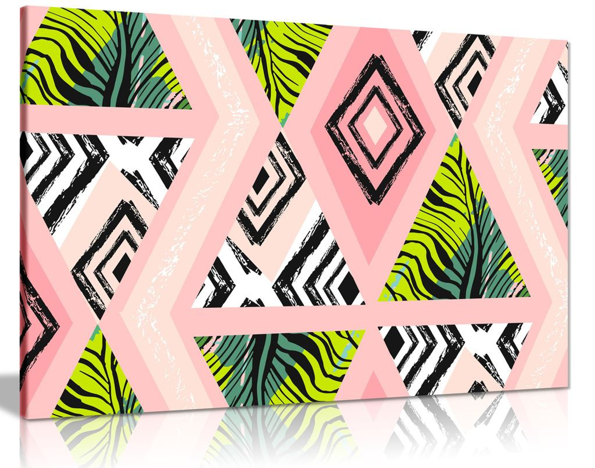 Tropical Jungle Pink Pattern Fashion Canvas Wall Art Picture Print