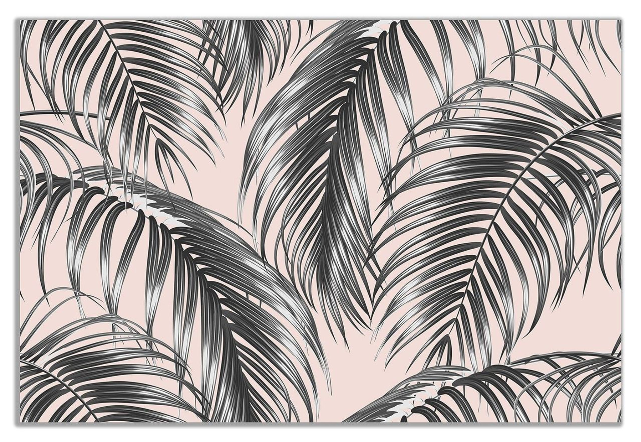 Tropical Jungle Palm Leaves On Pink Botanical Canvas Wall Art Picture Print