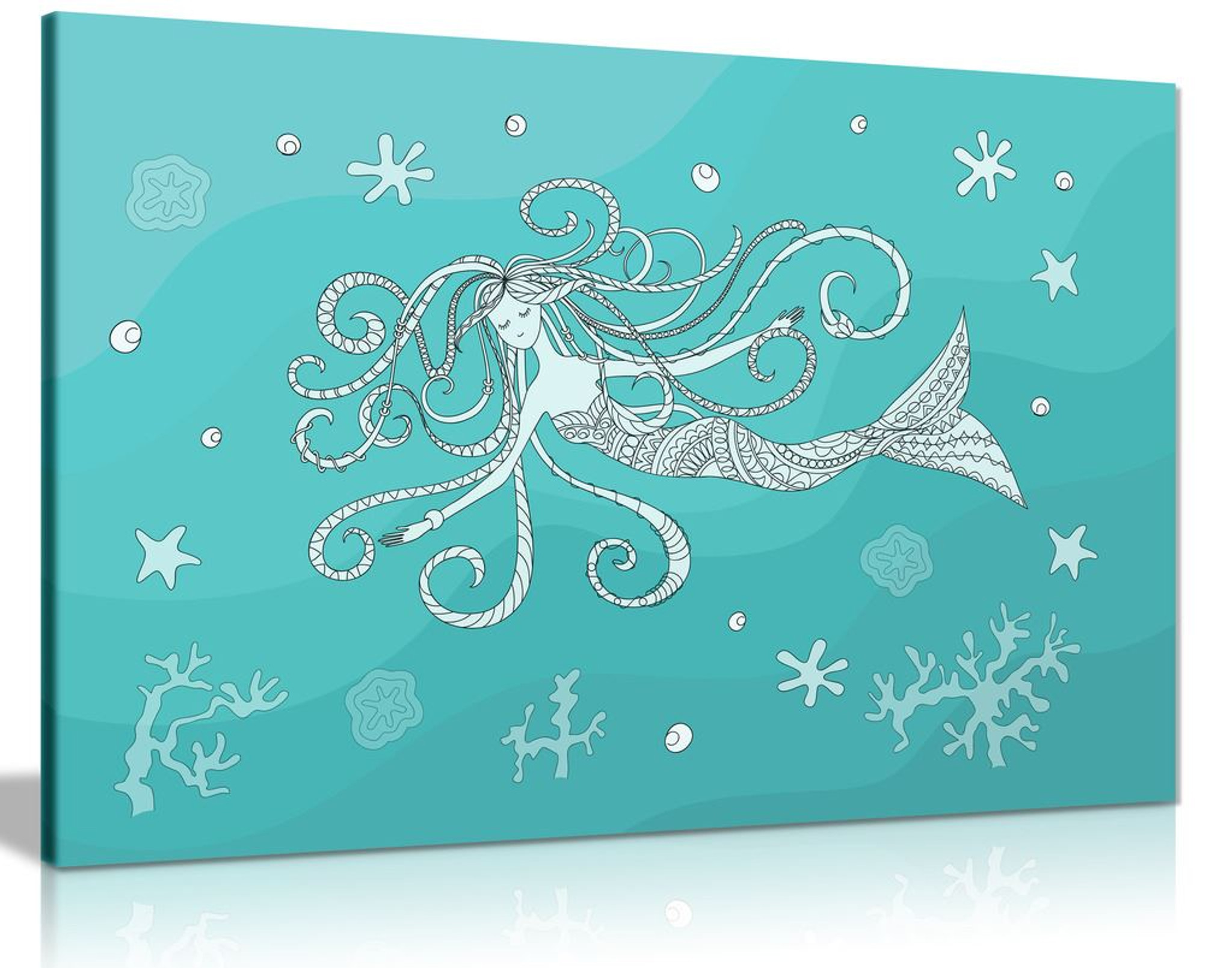 Teal Mermaid Canvas Wall Art Picture Print