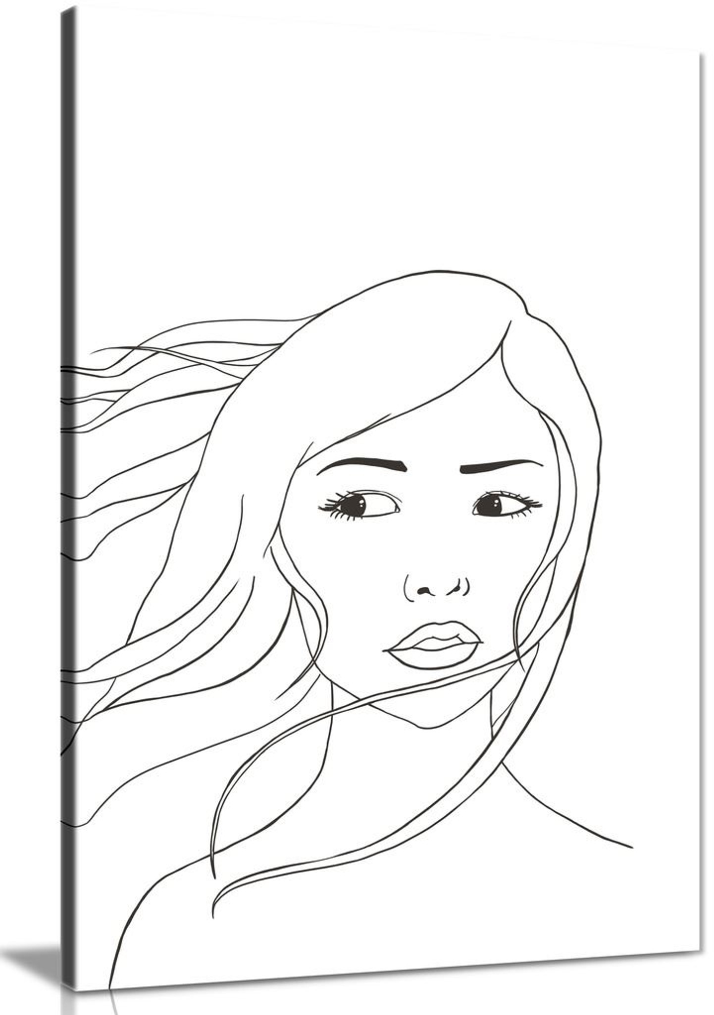 Serene Cute Young Woman Portrait Modern Minimal Canvas Wall Art Picture Print