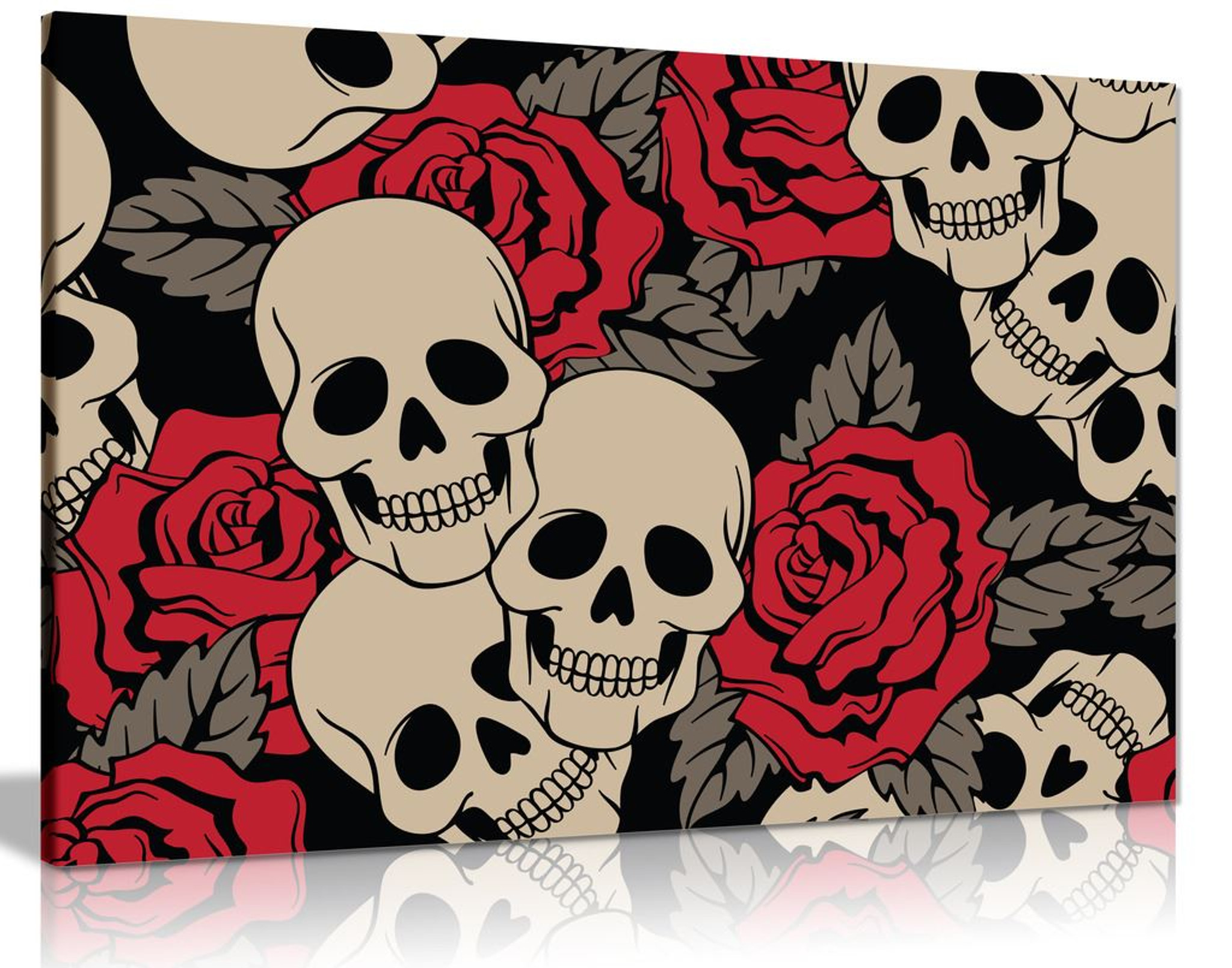 Roses & Skuls Canvas Wall Art Picture Print