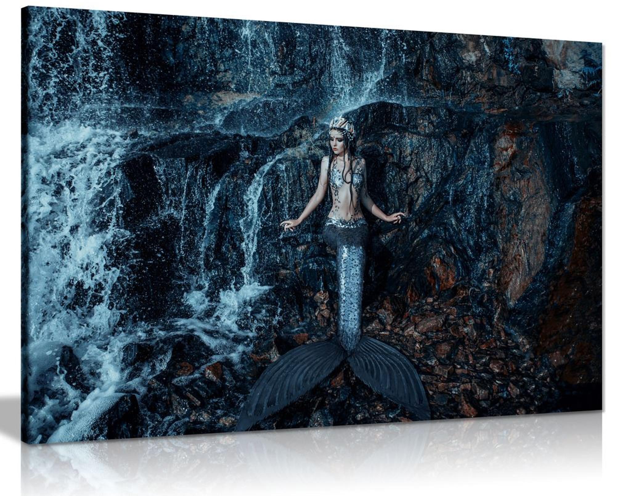 Real Mermaid Fish Ocean Fantasy Canvas Wall Art Picture Print