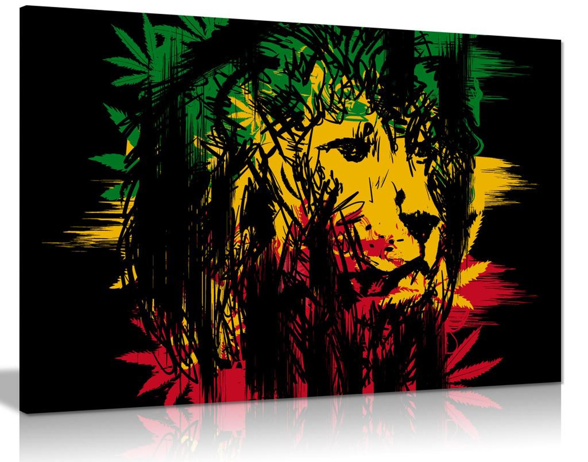 Rasta Lion Jamaican Dreadlocks Canvas Wall Art Picture Print