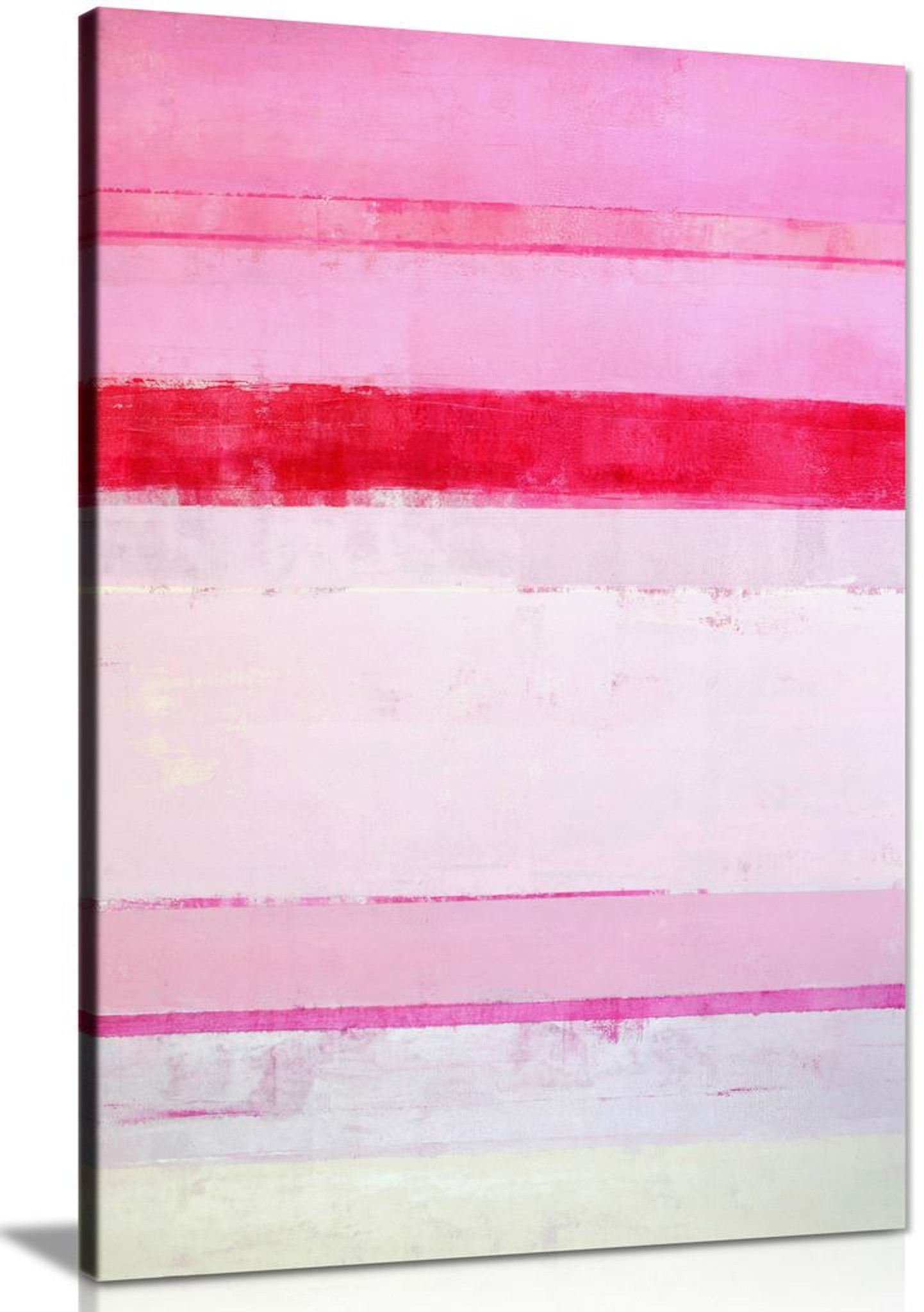 Pink Abstract Stripes Canvas Wall Art Picture Print