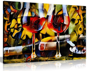 Kitchen Wines Cubism Canvas Wall Art Picture Print