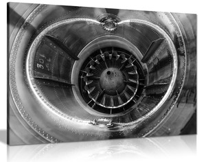 Jet Engine Nozzle Black & White Canvas Wall Art Picture Print