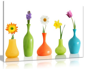 Fresh Look Spring Colorful Flowers In Vases On White  Canvas Wall Art Picture Print