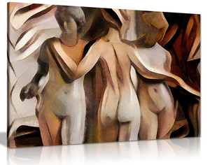 Female Sculptures Modern Brown Painting Canvas Wall Art Picture Print