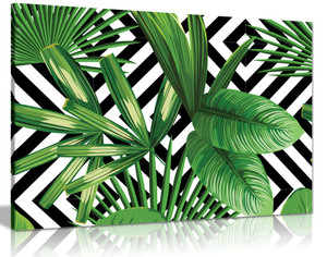 Exotic Jungle Leaves Black & White Geometric Botanical Canvas Wall Art Picture Print