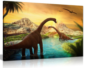 Dinosaur Landscape Canvas Wall Art Picture Print