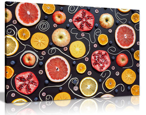 Colourful Fruits Pattern Kitchen Canvas Wall Art Picture Print