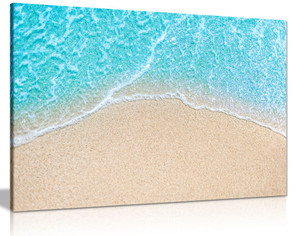 Coastal Wave Blue Sea Beach Canvas Wall Art Picture Print