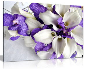 Bunch Of Flowers In White And Dark Purple Canvas Wall Art Picture Print