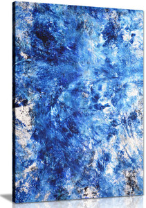 Blue White Abstract Art Painting Canvas Wall Art Picture Print
