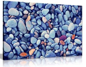 Blue Beach Pebbles Stones Canvas Wall Art Picture Print