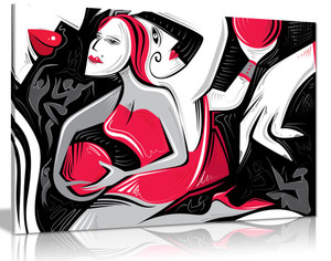 Black White Red Woman Abstract Cubsim Canvas Wall Art Picture Print
