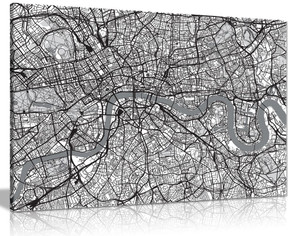 Black & White Map Of London Urban Canvas Wall Art Picture Print